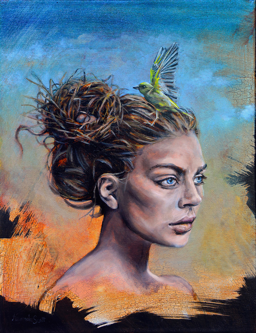 Gaea by Amanda Scott oil on canvas of woman with bird in her hair