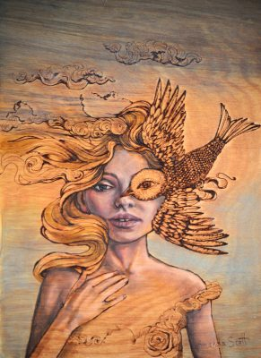 Loyal Sparrow by Amanda Scott oil and wood burning of woman with sparrow over her eye