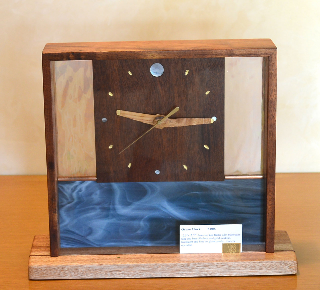 Wood and Glass Ocean Clock by Gary Forest