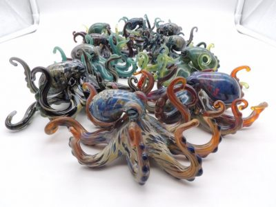 Assorted Handblown Glass Octopus by Chris Upp - Examples