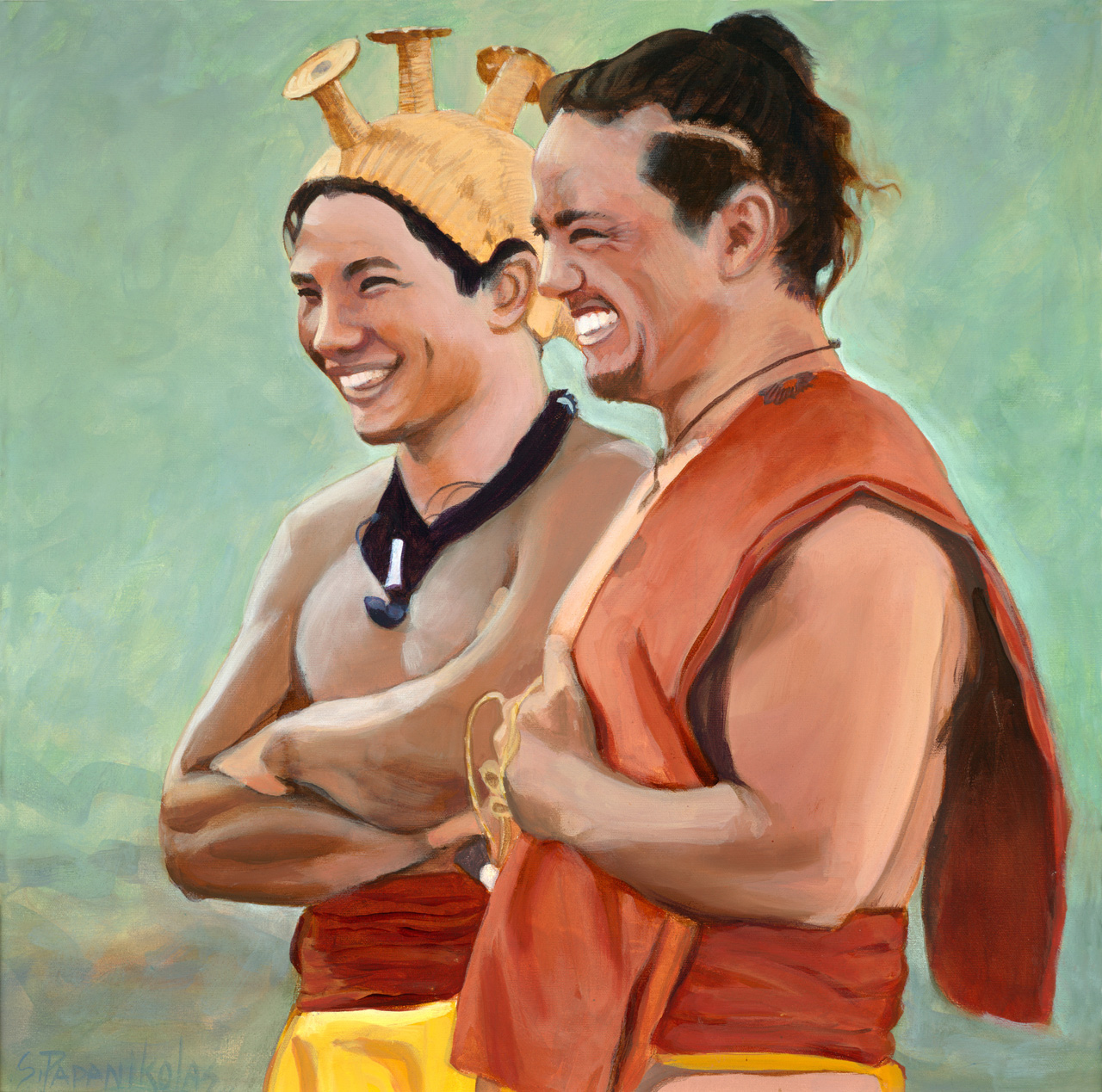 Two men wearing Hawaiian attire looking in the distance and laughing