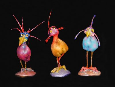 Chirppies by Steven Lee Smeltzer cartoonish whimsical clay sculptures of birds