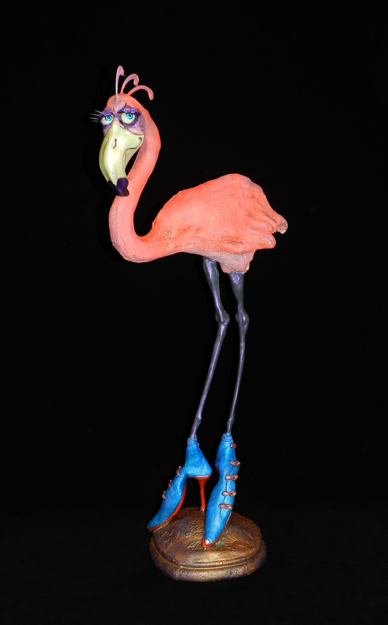 Flamingo by Steven Lee Smeltzer cartoonish whimsical clay sculpture flamingo