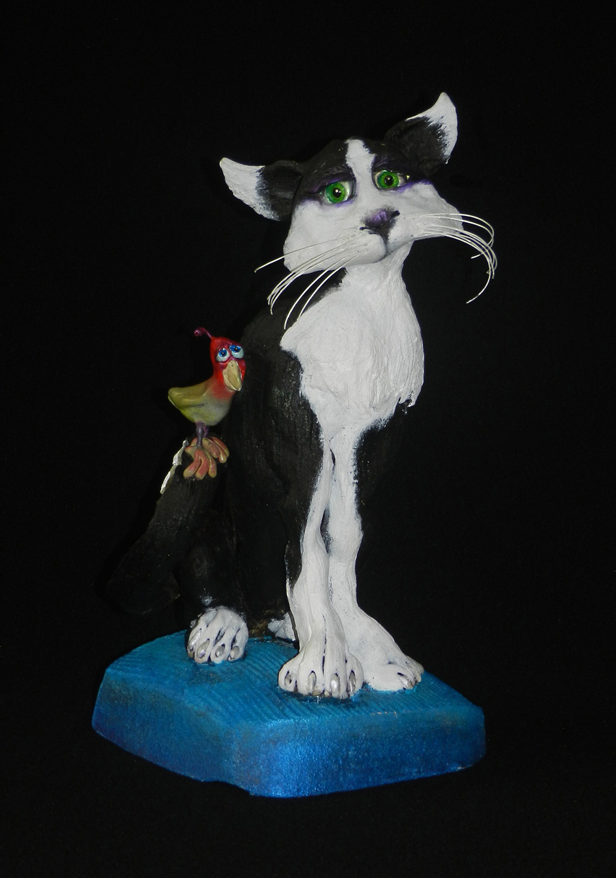 Maui Meowie with Bird by Steven Lee Smeltzer black and white cat with bird