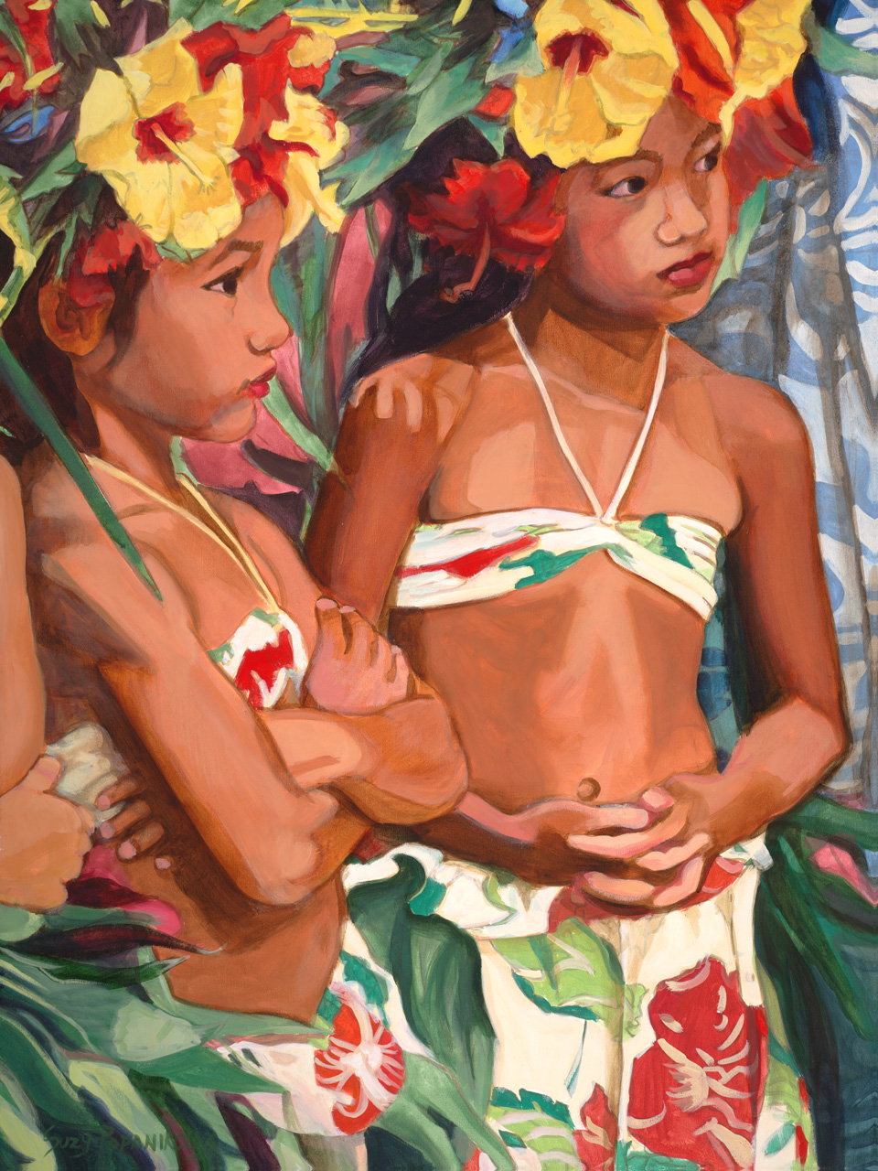 Two young hula dancers looking in the distance with coloful hula attire and yellow and red hibiscus hakus