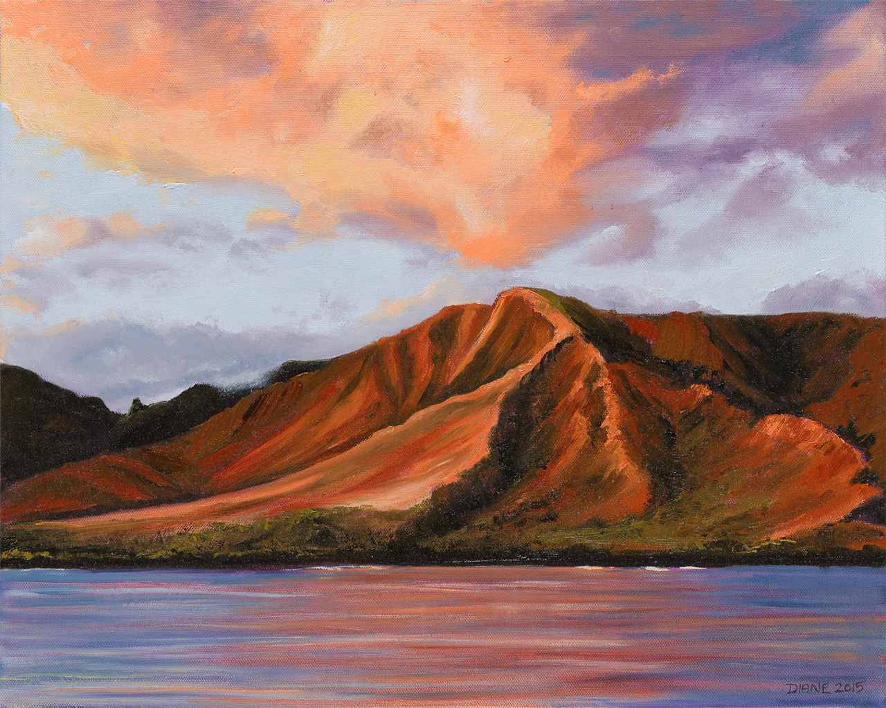 '4th of July Sky Over West Maui Mountains' 16 x 20 Oil on canvas Diane Appler