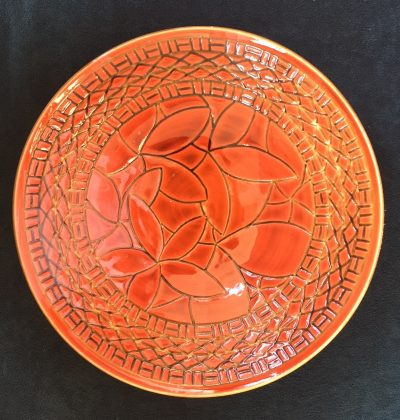 Sgraffito Bowl by Curt Stevens plumeria design