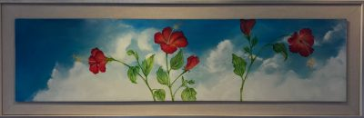 My View Red Hibiscus Oil Painting
