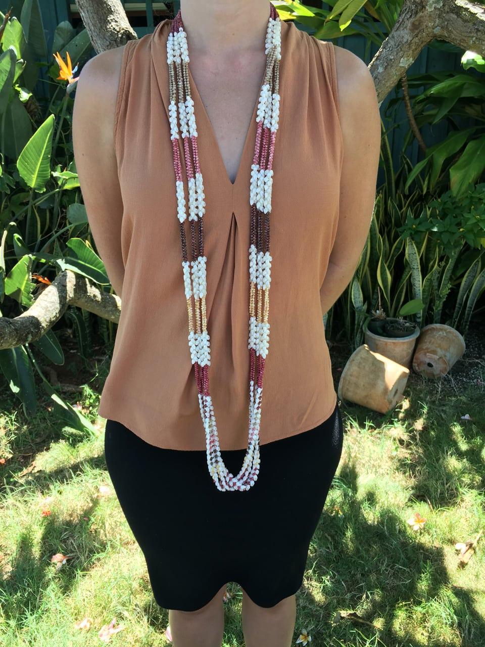 "Niʻihau Collectors' Lei, 55"" 3-Strand Kipona Heleconia/Pikake/Mauna Loa. Crafted by master artisan Kalei Beniamina."