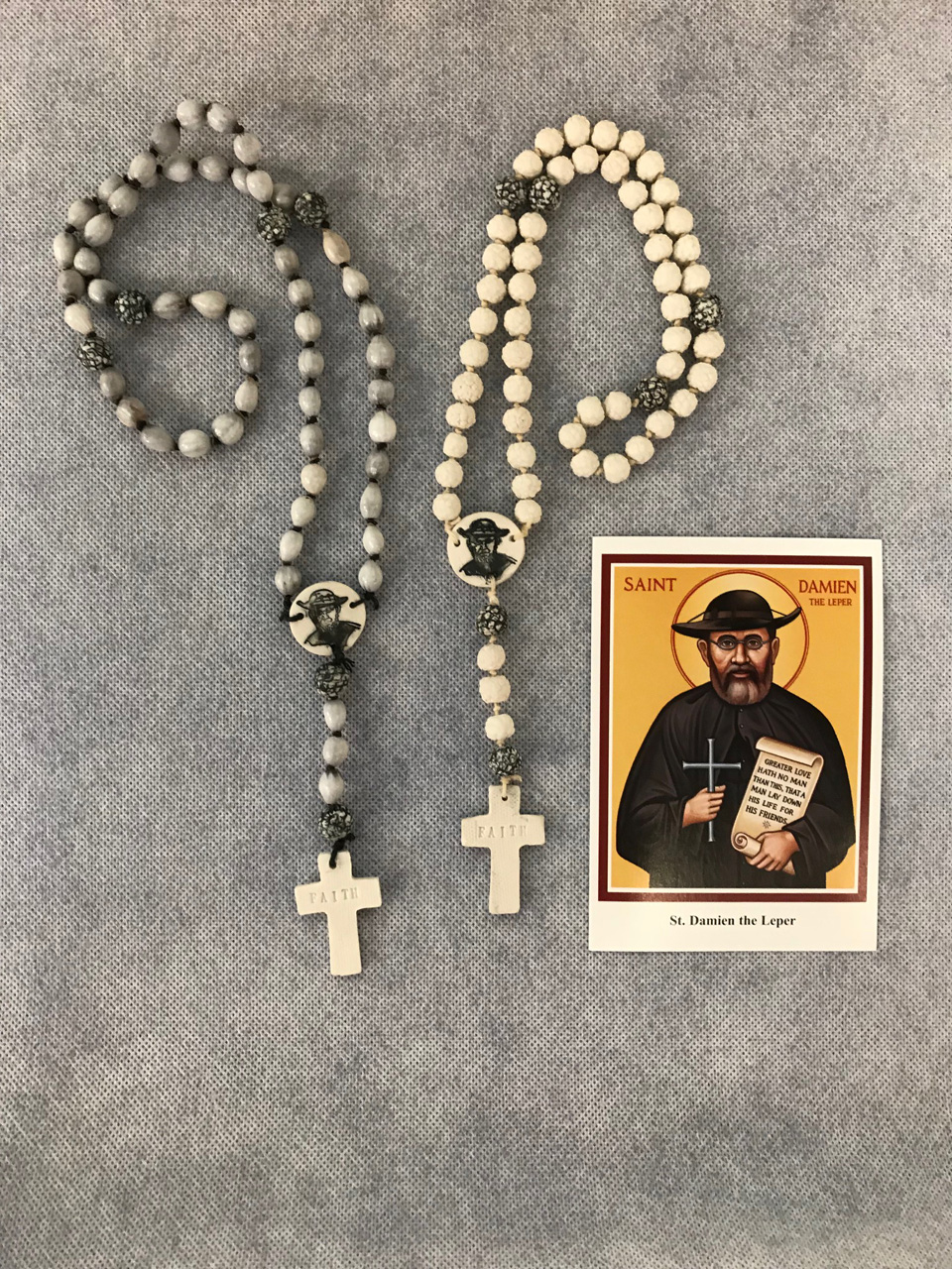 Job's Tears and Porcelain Saint Damien Rosaries