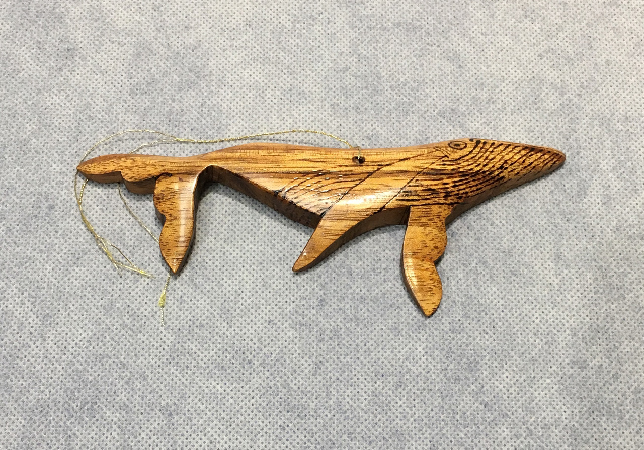 Koa Whale Ornament