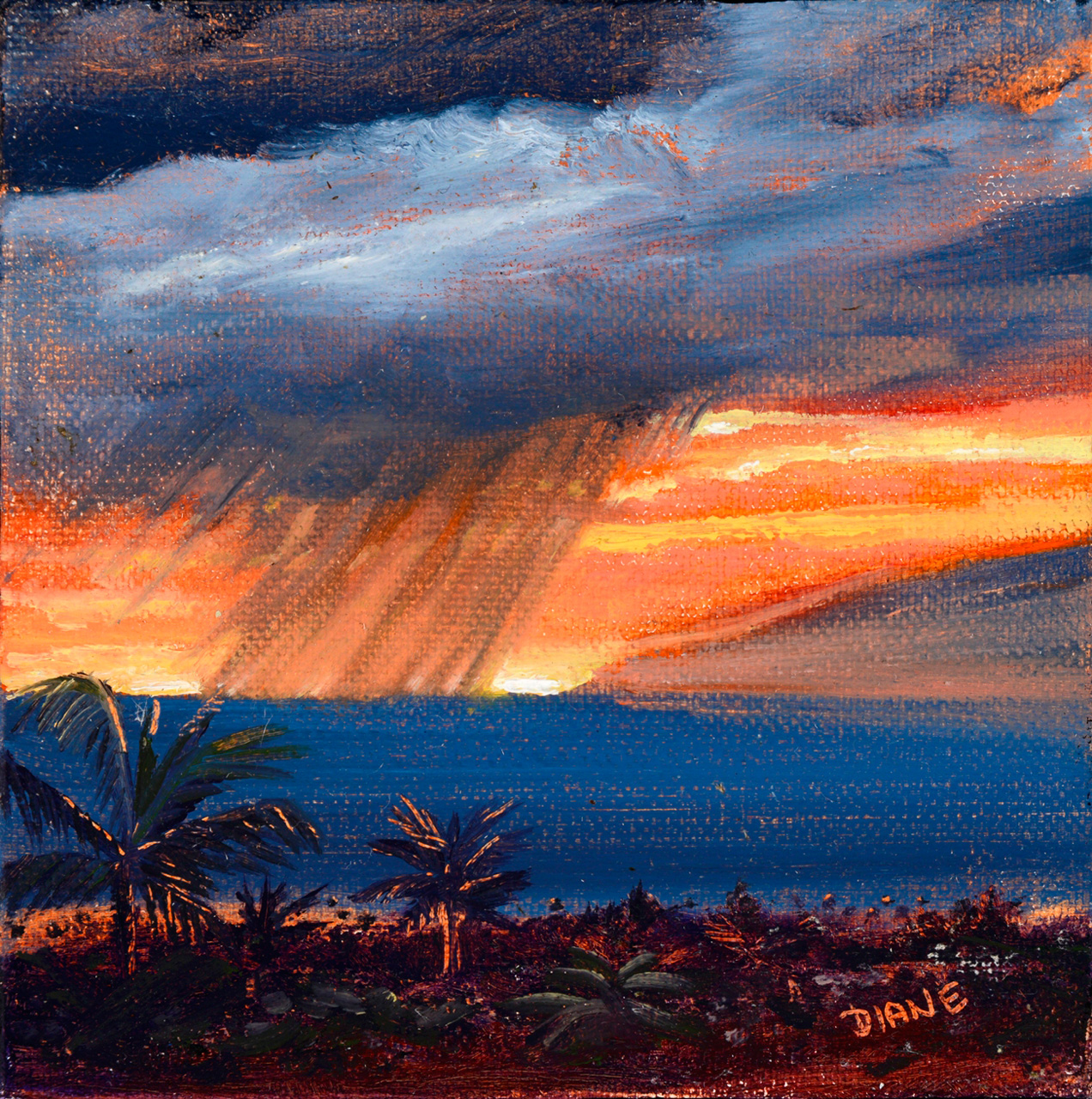 'Kuaua Sunset VI -Maui' 5x5 Oil on Canvas Diane Appler