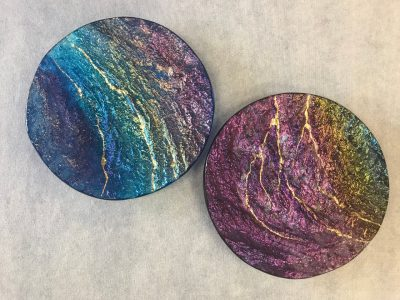 Two Glass Round Platters by Marian Fieldson