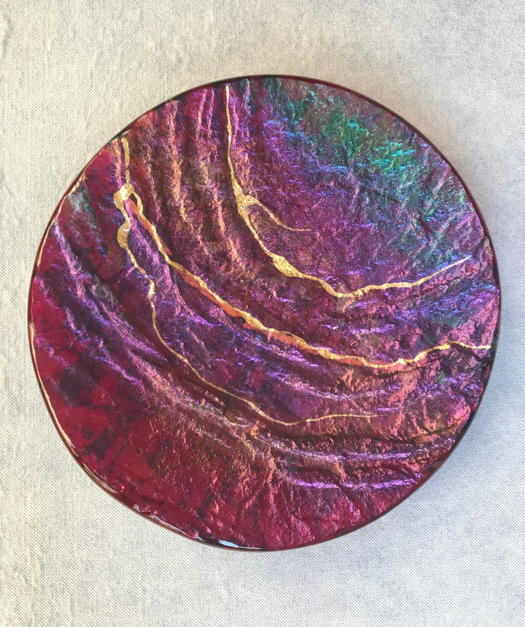 Glass Round Platter by Marian Fieldson Maroon