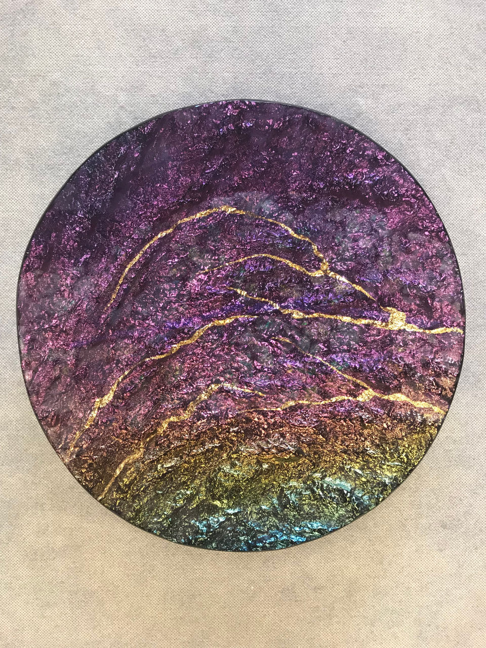 Round Platter by Marian Fieldson Purple