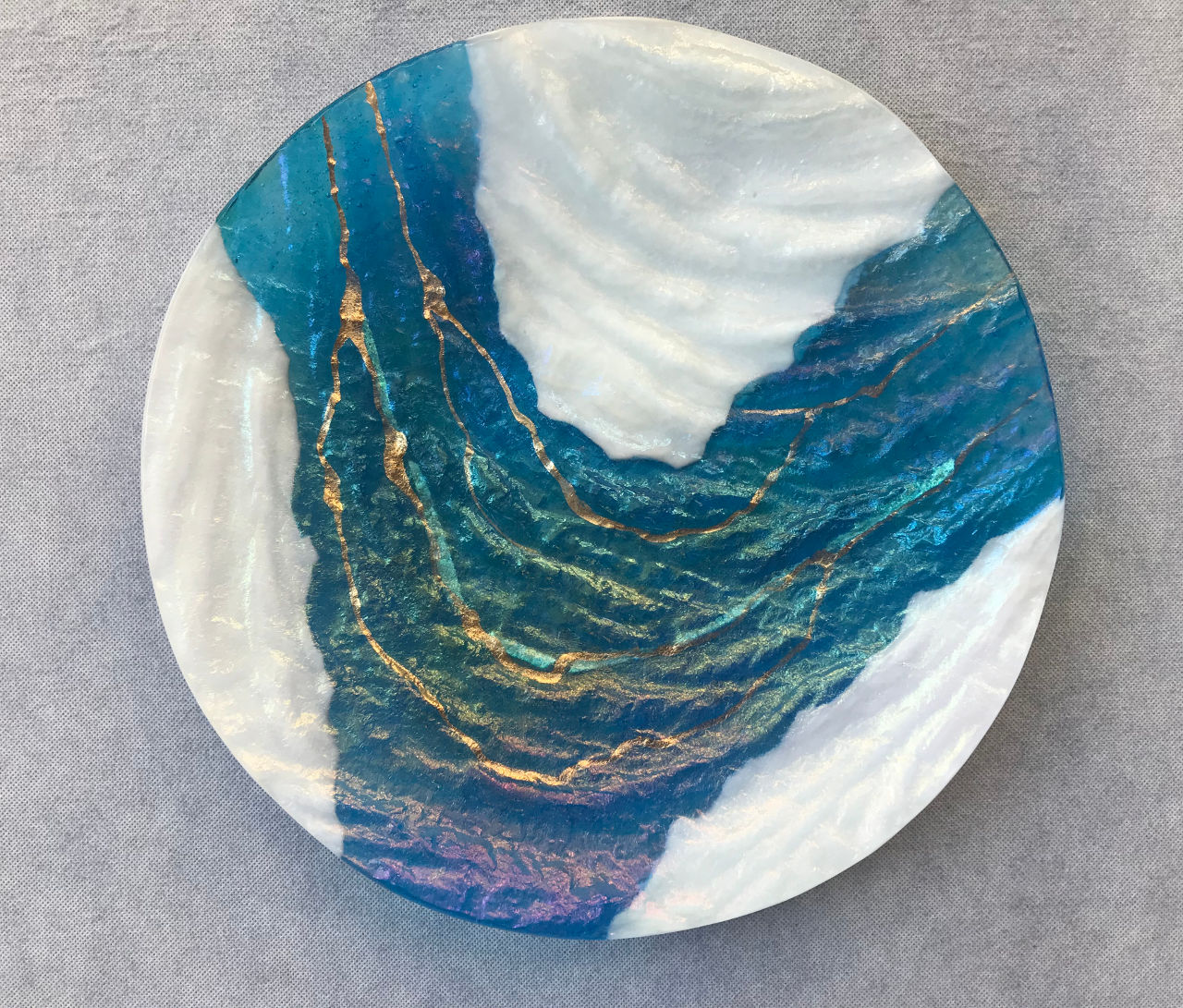 Glass Round Platter by Marian Fieldson Blue and White