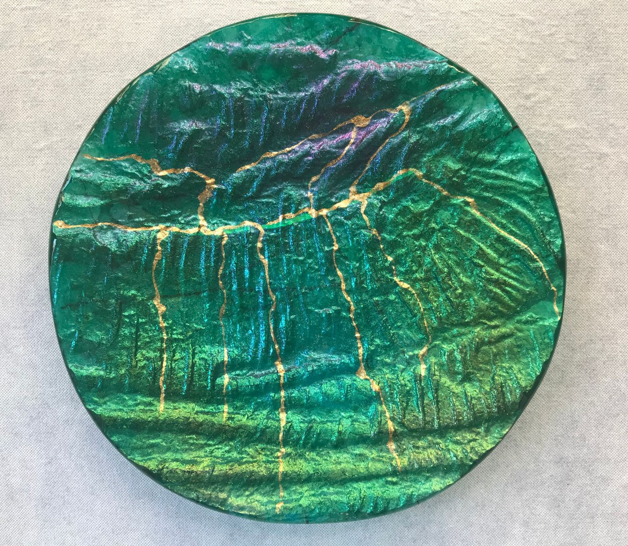 Glass Round Platter by Marian Fieldson green