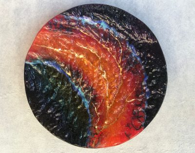 Glass Round Platter by Marian Fieldson lava colors