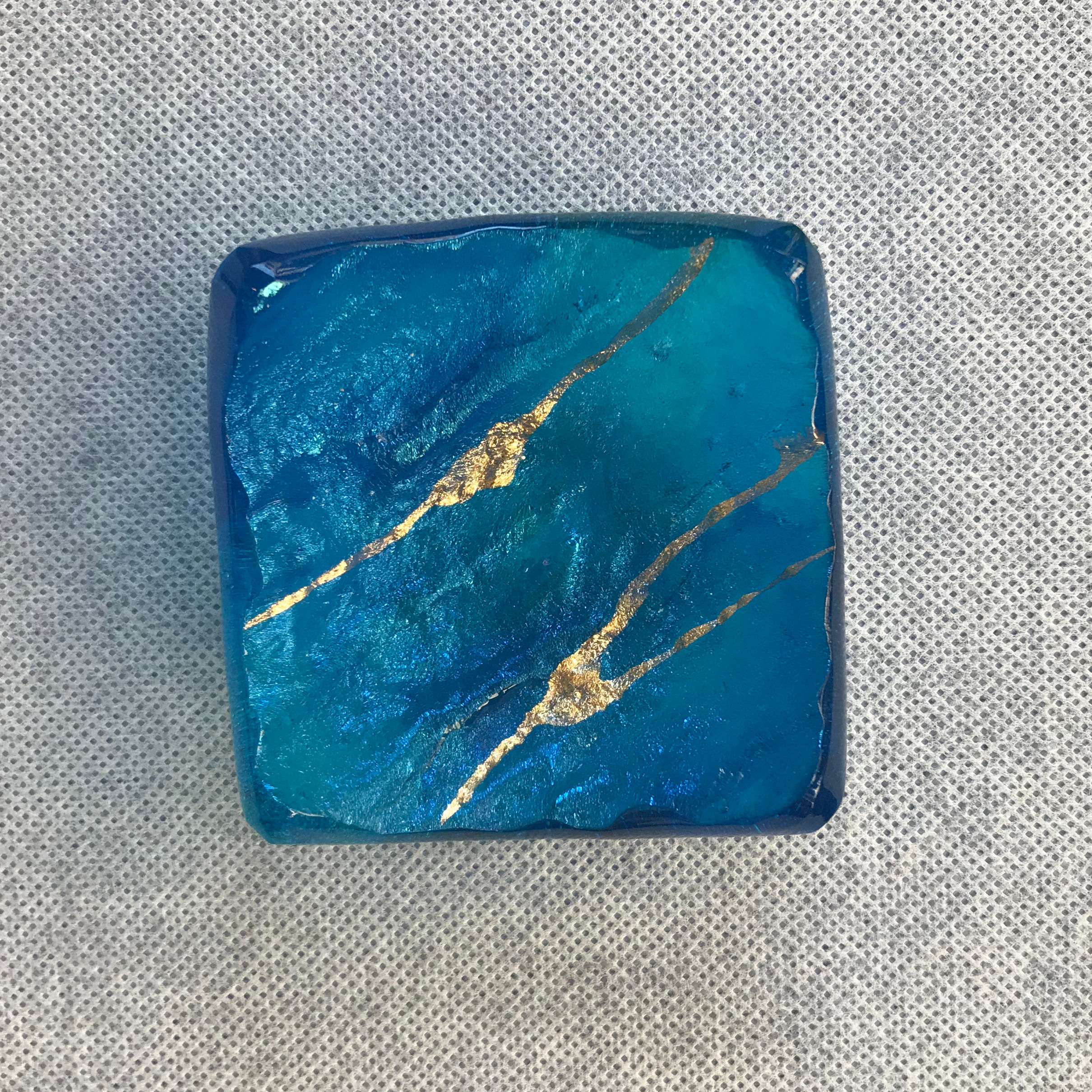 Glass Square Tray by Marian Fieldson blue