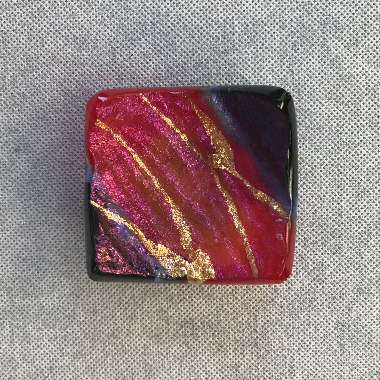 Glass Square Tray by Marian Fieldson Lava Colors
