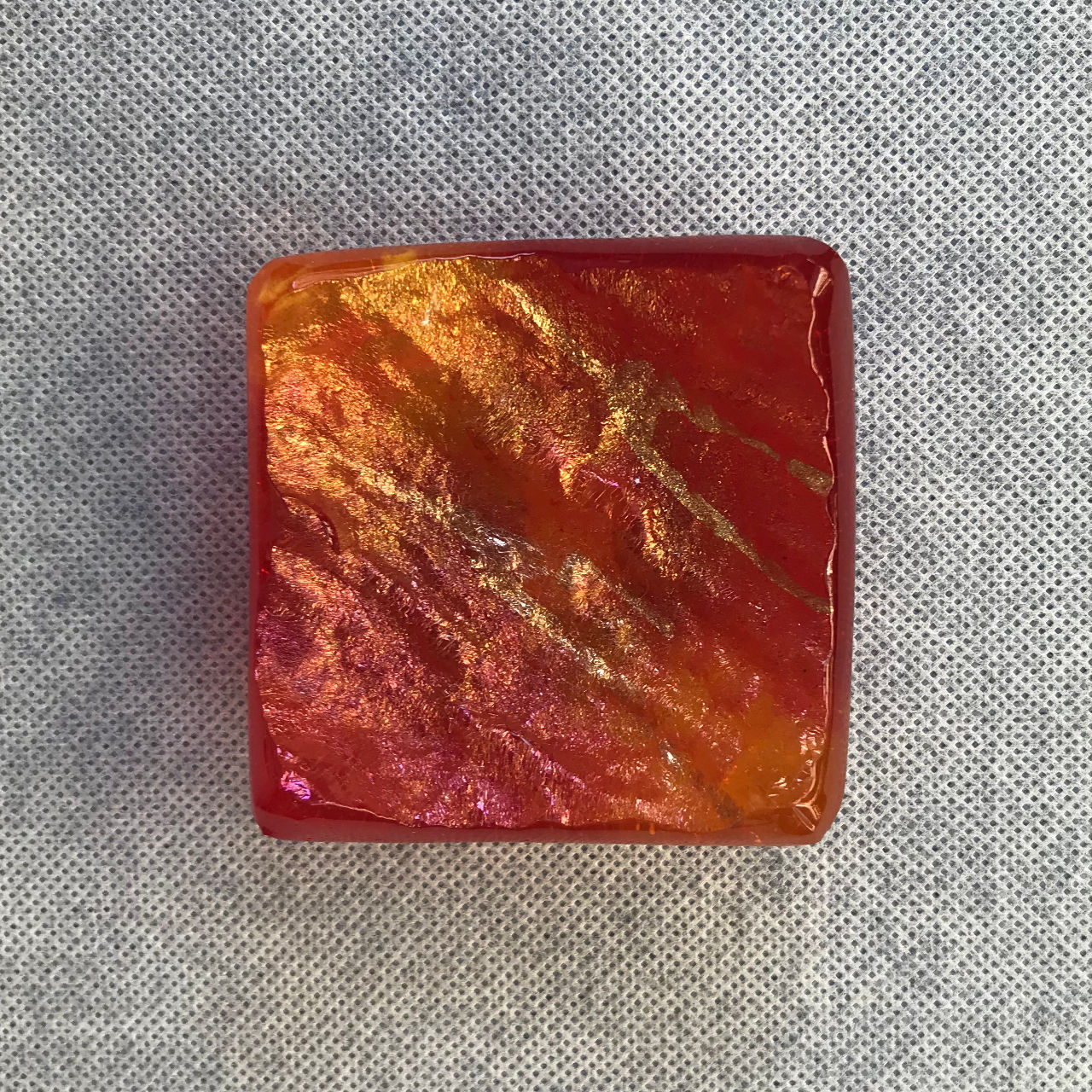 Glass Square Tray by Marian Fieldson red and orange
