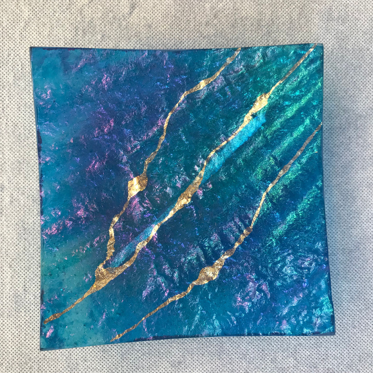 Glass Square Platter by Marian Fieldson blue