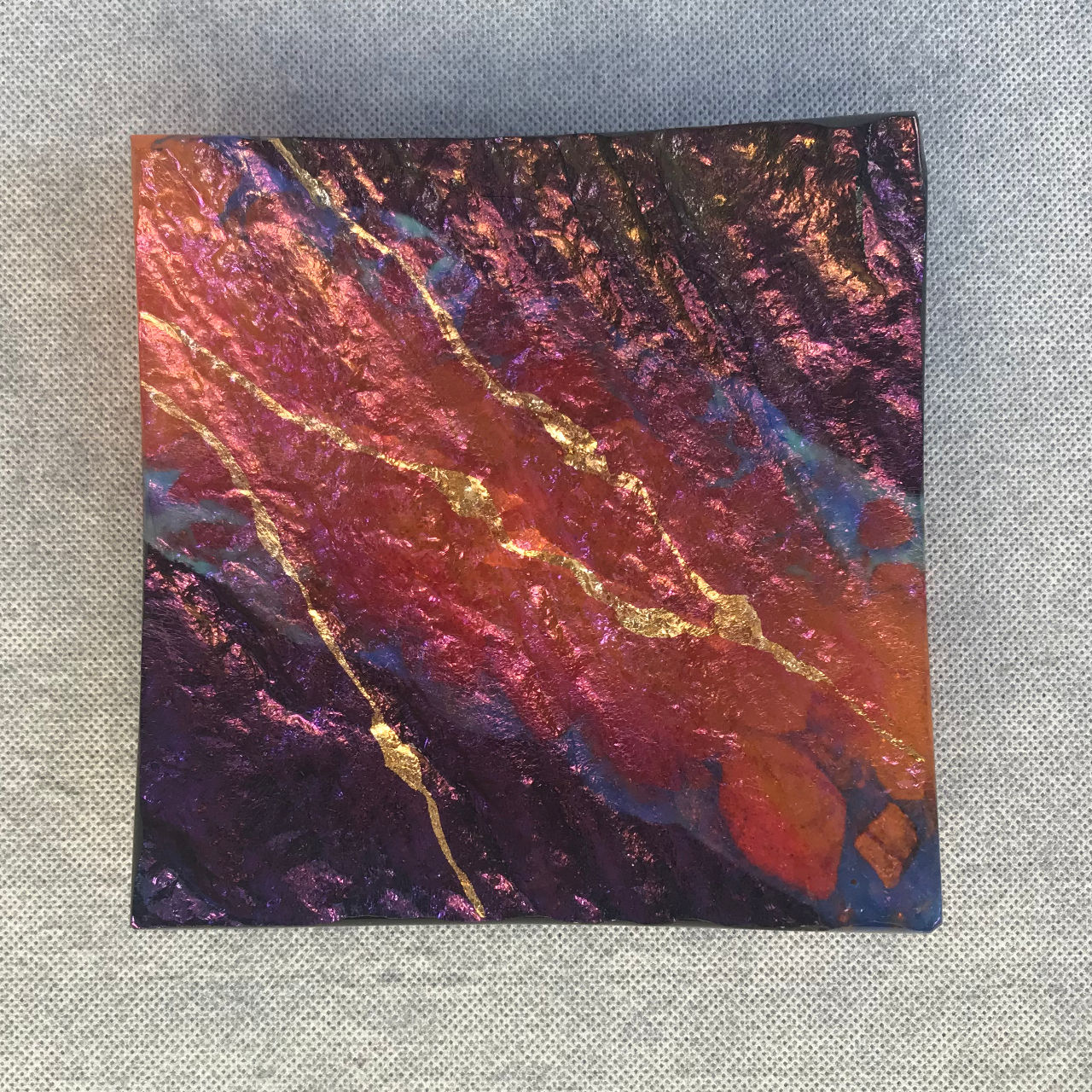 Glass Square Platter by Marian Fieldson Lava colors