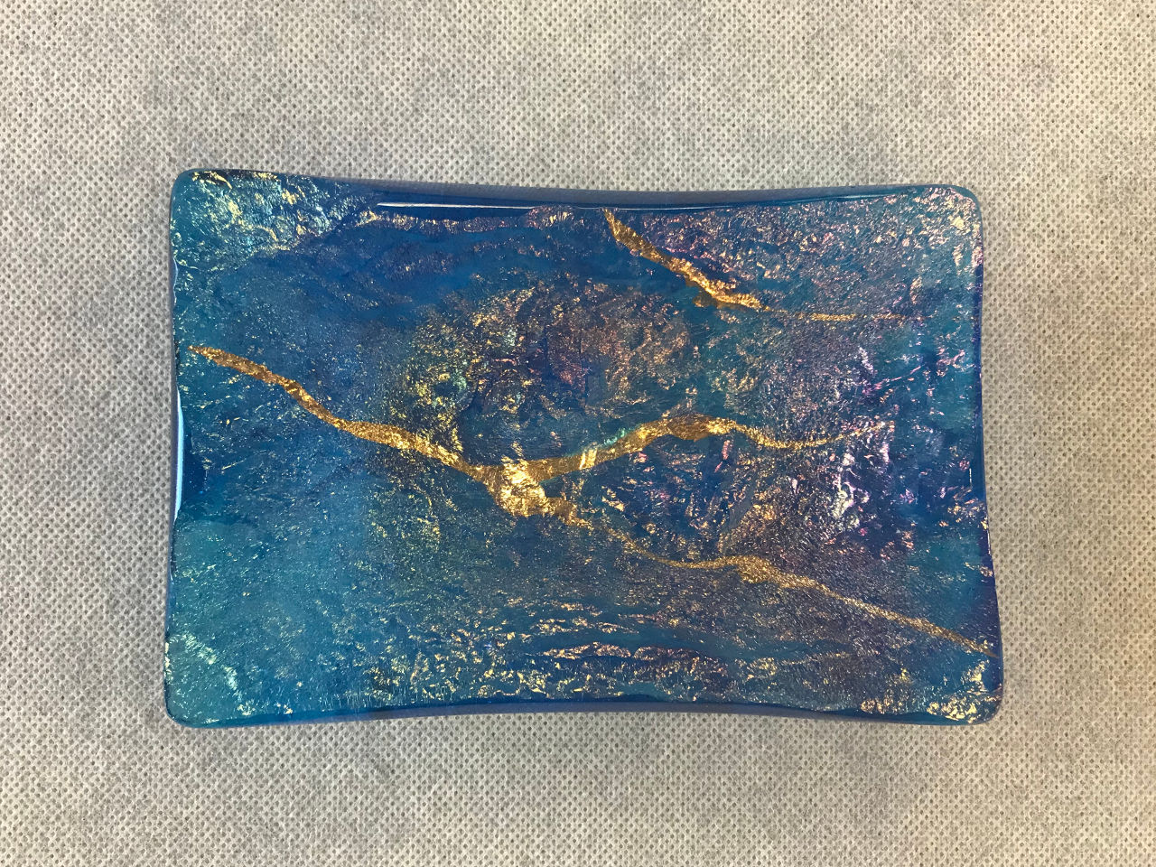 Glass Rectangular Tray by Marian Fieldson blue