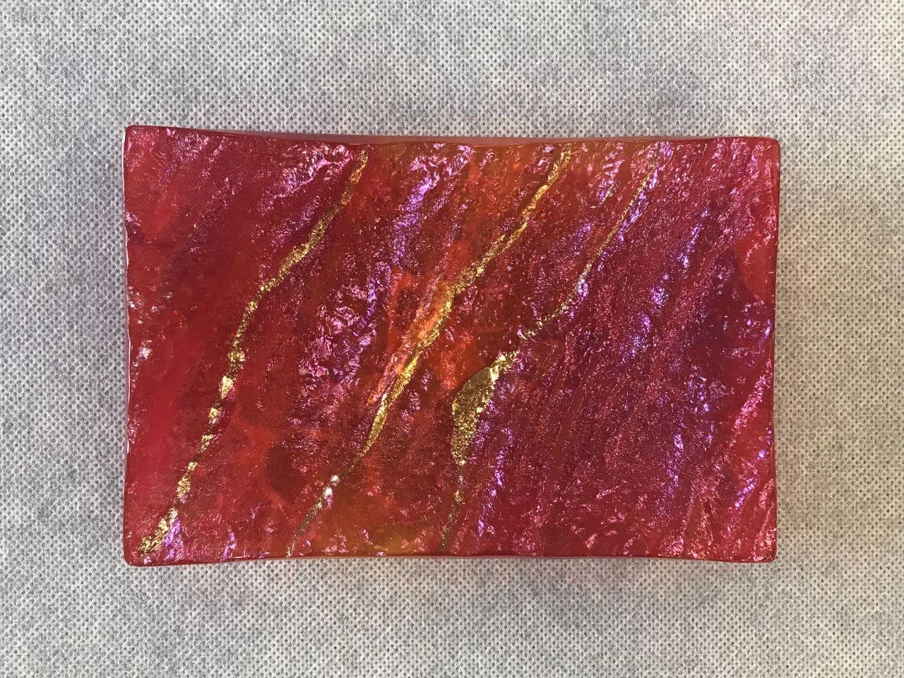Hawai'i Lava Trinket Tray by Marian Fieldson. Lava flow-molded functional glass art with 22K gold accents handmade on Hawai'i.
