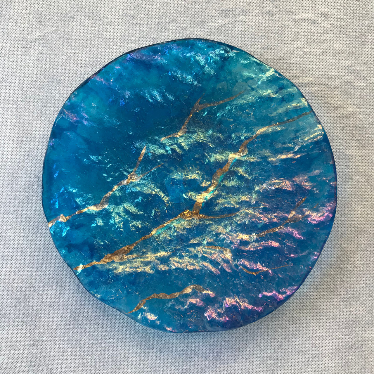 Glass Round Platter by Marian Fieldson Blue