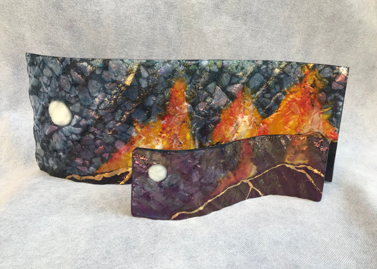 Small and Medium Scape Volcano by Marian Fieldson glass wave volcano design