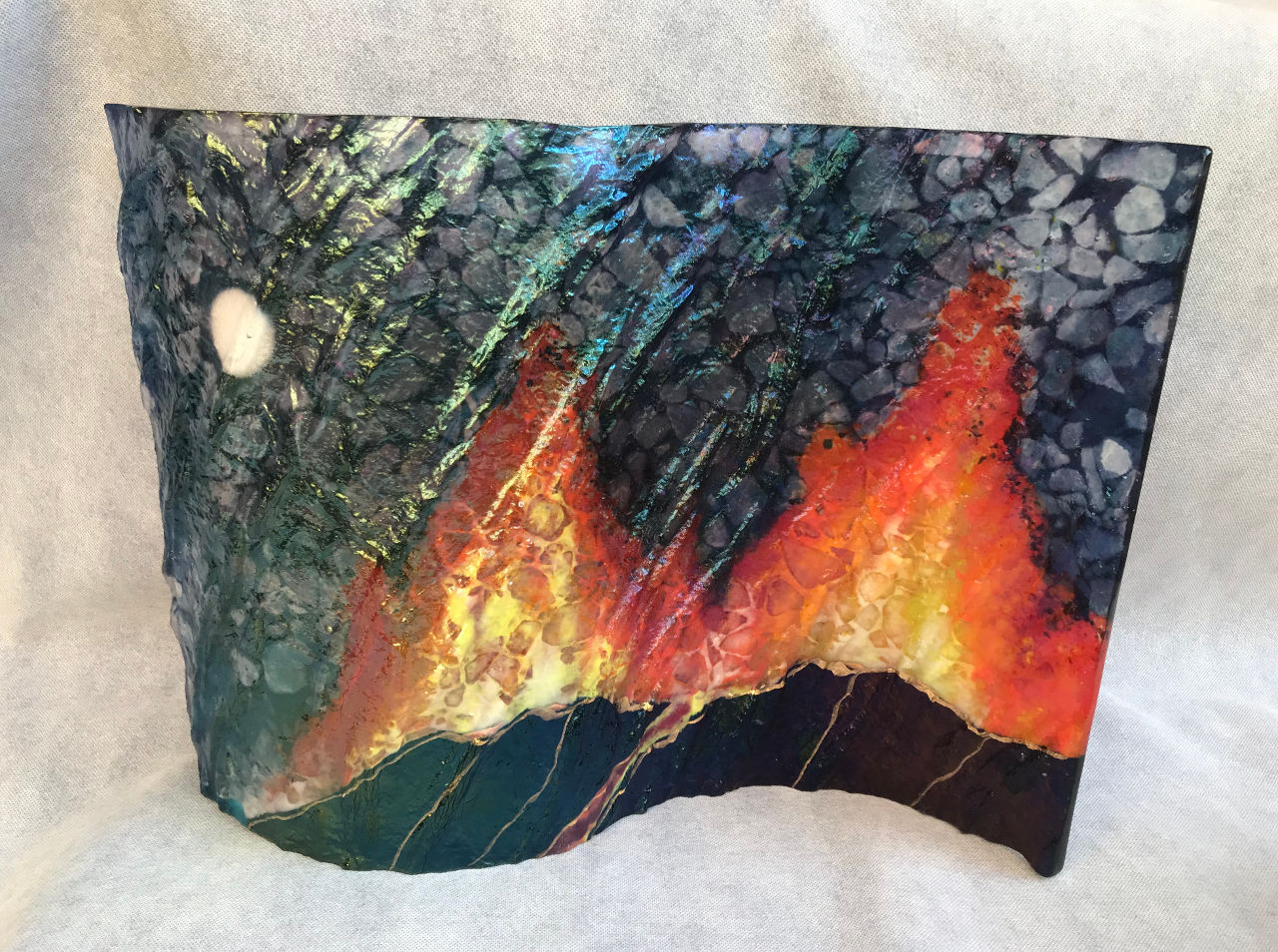 Large Scape Volcano by Marian Fieldson glass wave volcano design