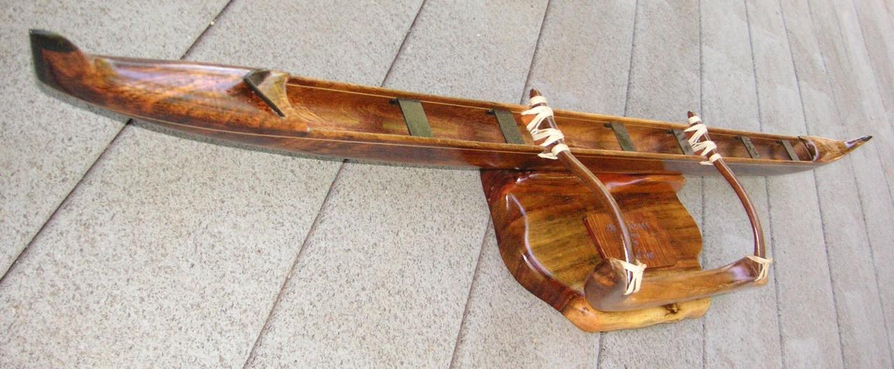 Model wood Hawaiian Canoe by Mel Ross