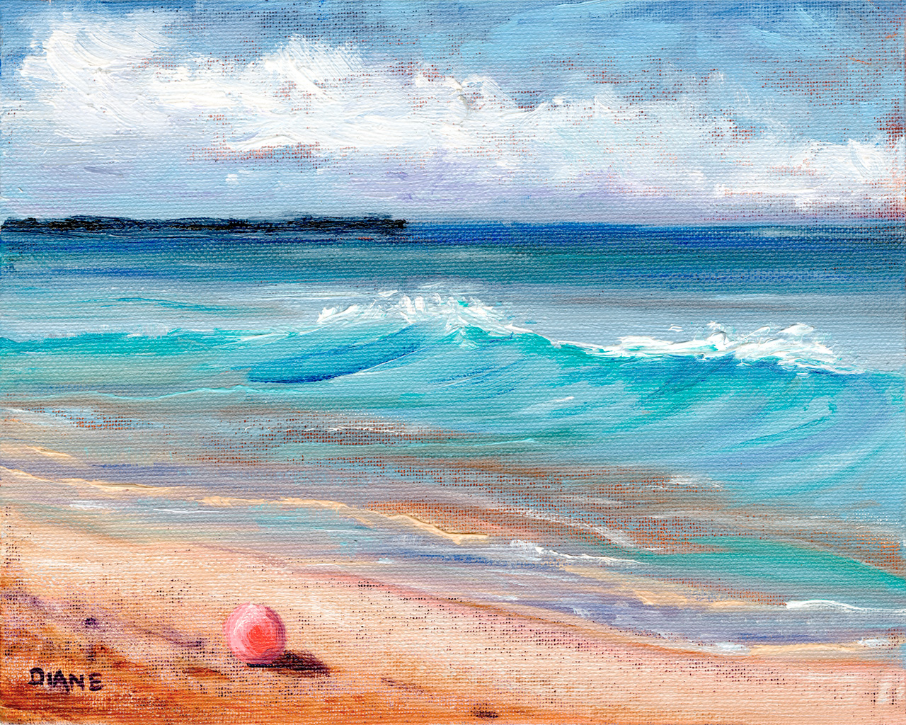 'Makena Beach Tranquility' 9 x 12 Oil in Canvas board Diane Appler