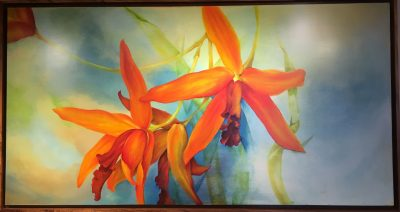 Orange Orchid Oil Painting