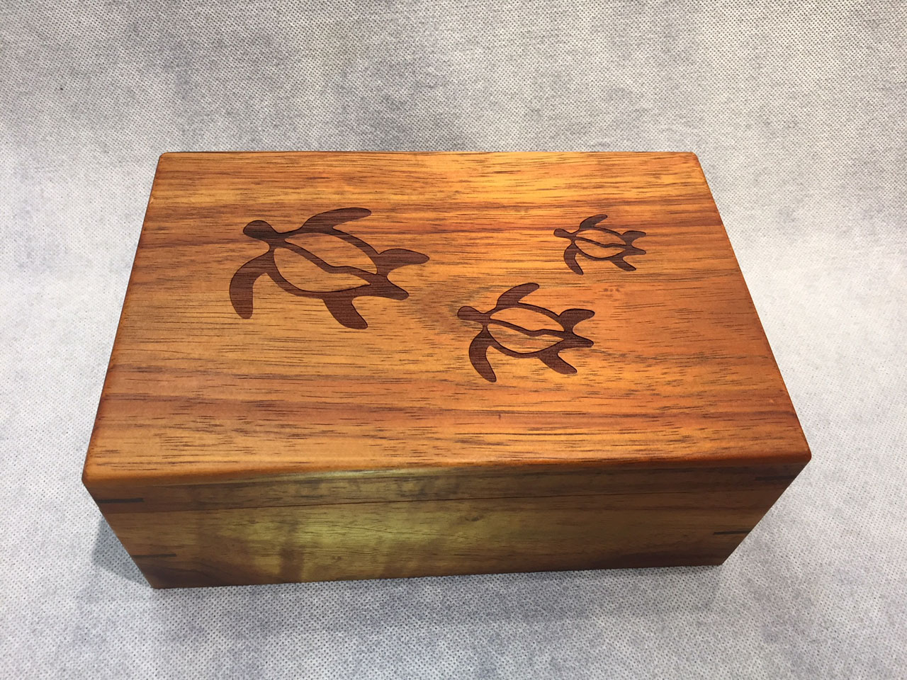 Honu Petroglyph Engraved Hinged Koa Box