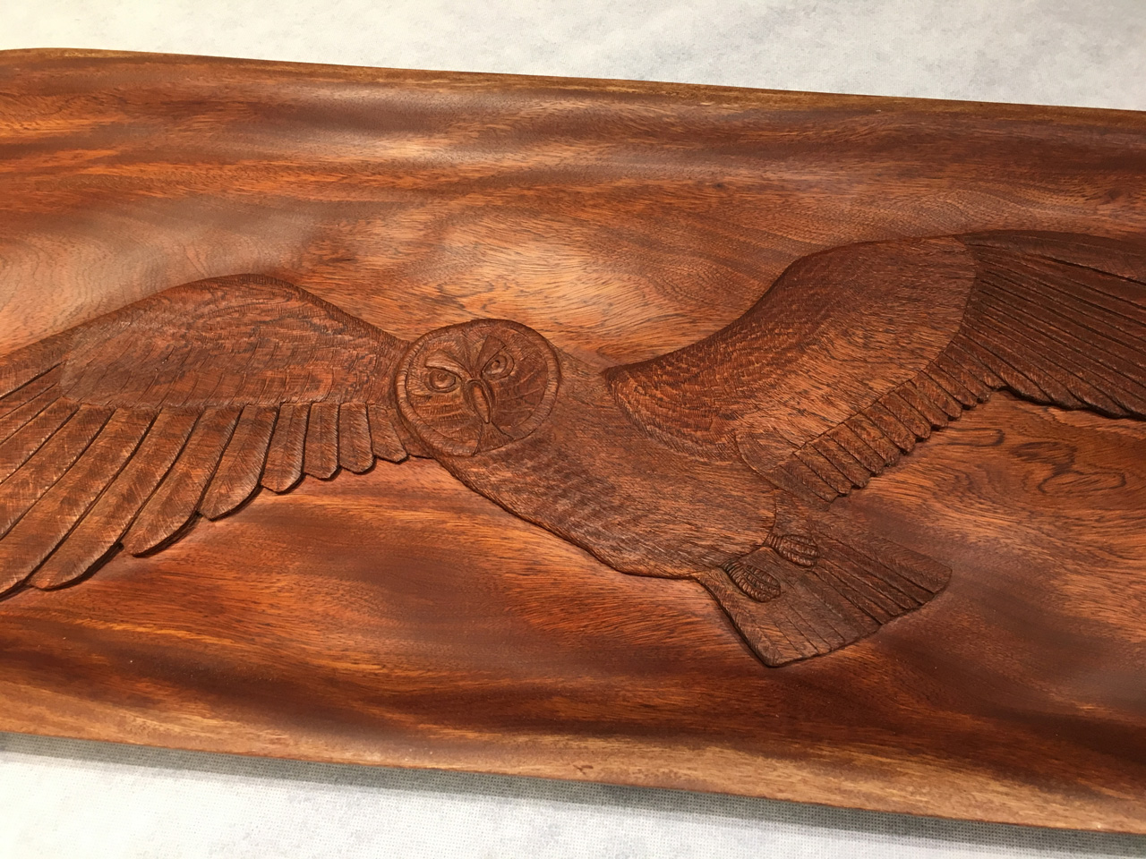Kamani Wood with Pueo Owl Carving