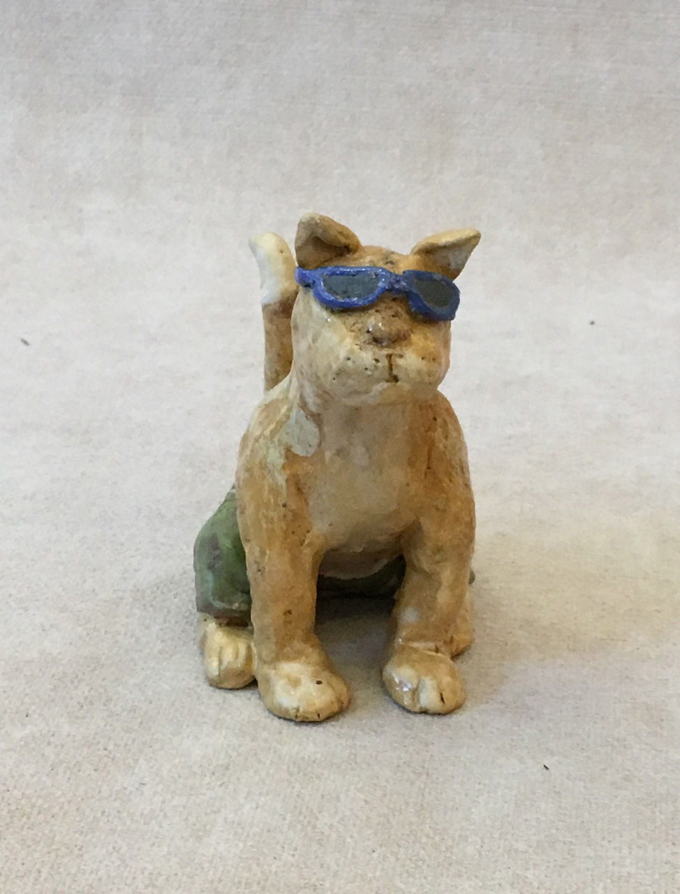Cat by Robin Fahey Cameron with sunglasses hand built clay