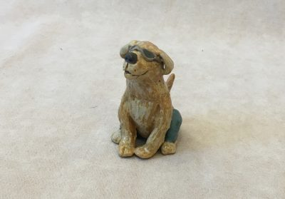 Dog with Glasses by Robin Fahey Cameron hand built clay