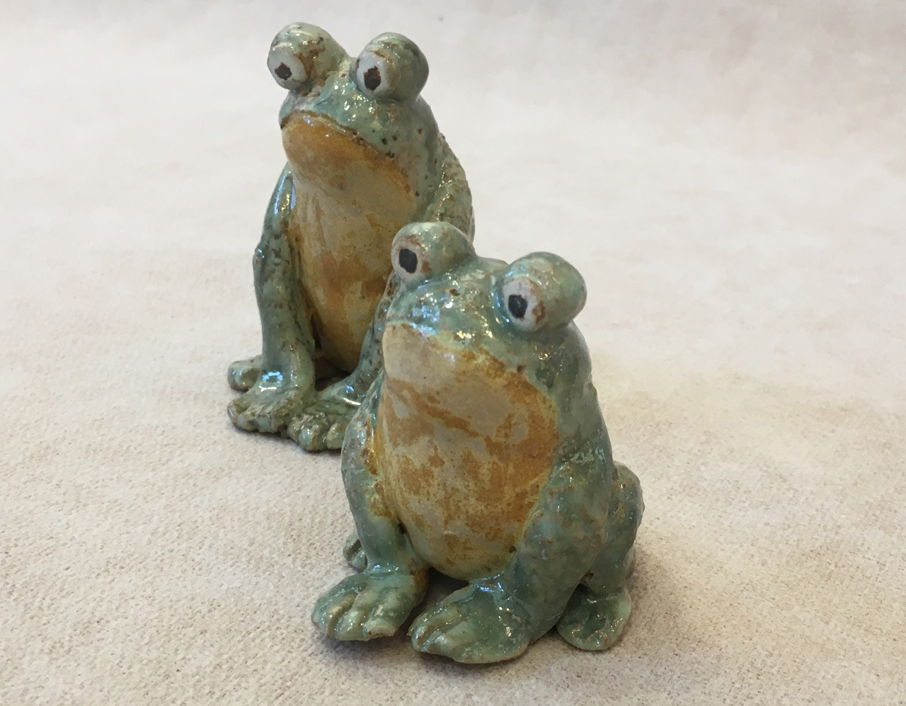 Two Frogs by Robin Fahey Carmeron hand built clay