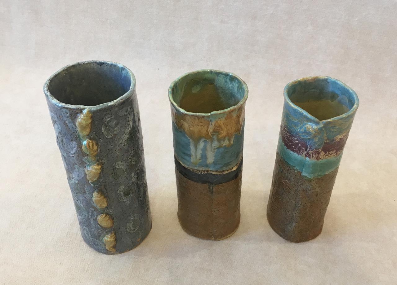 Vases by Robin Fahey Cameron hand built clay