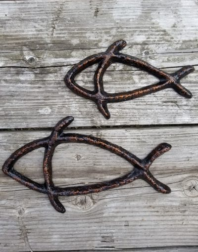 Fish Decor Made in Hawaii - Petroglyph Fish by Scott Green - Outdoor Art - Metal Art - Grouping of 2 sizes