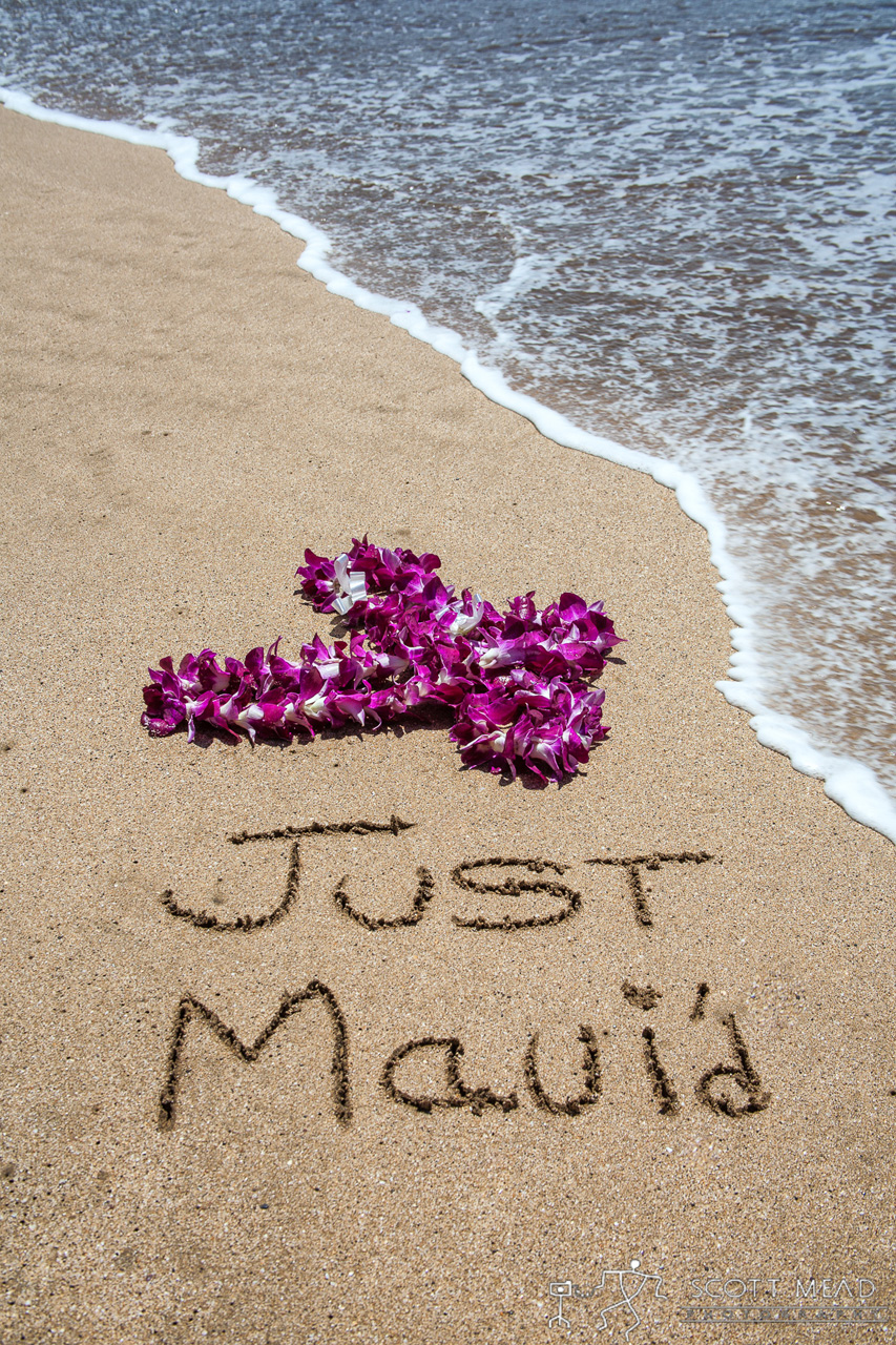 Just Maui'd by Scott Mead Just Married written on the beach