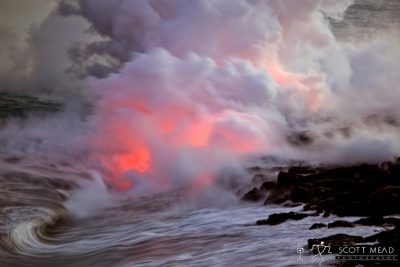 Boiling Surf by Scott Mead waves boiling over flowing lava