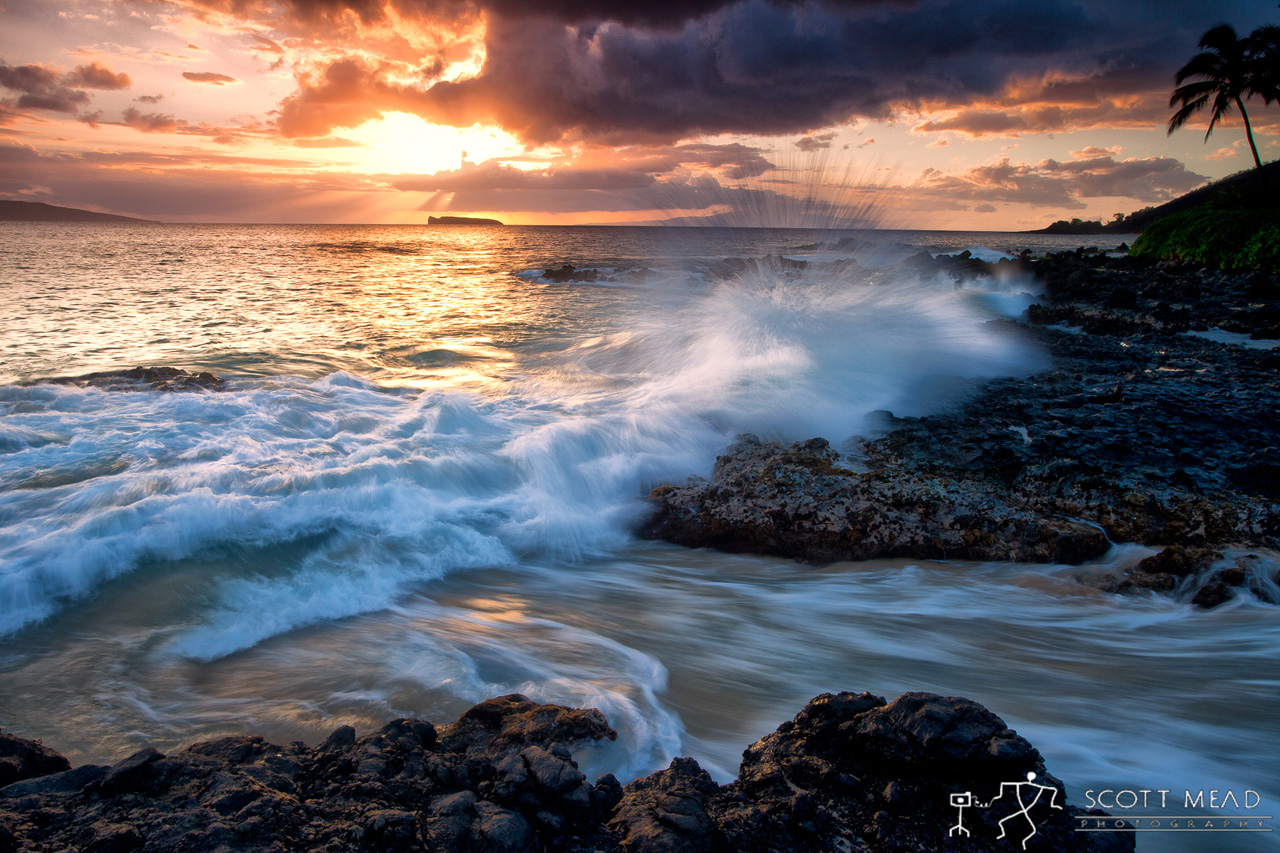 Oloa by Scott Mead ocean sunset with waves