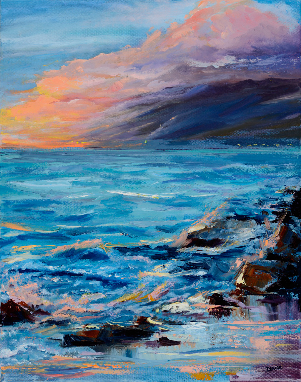 'Sunset Nocturn Charley Young Beach' 16 x 20 Oil on Canvas Diane Appler