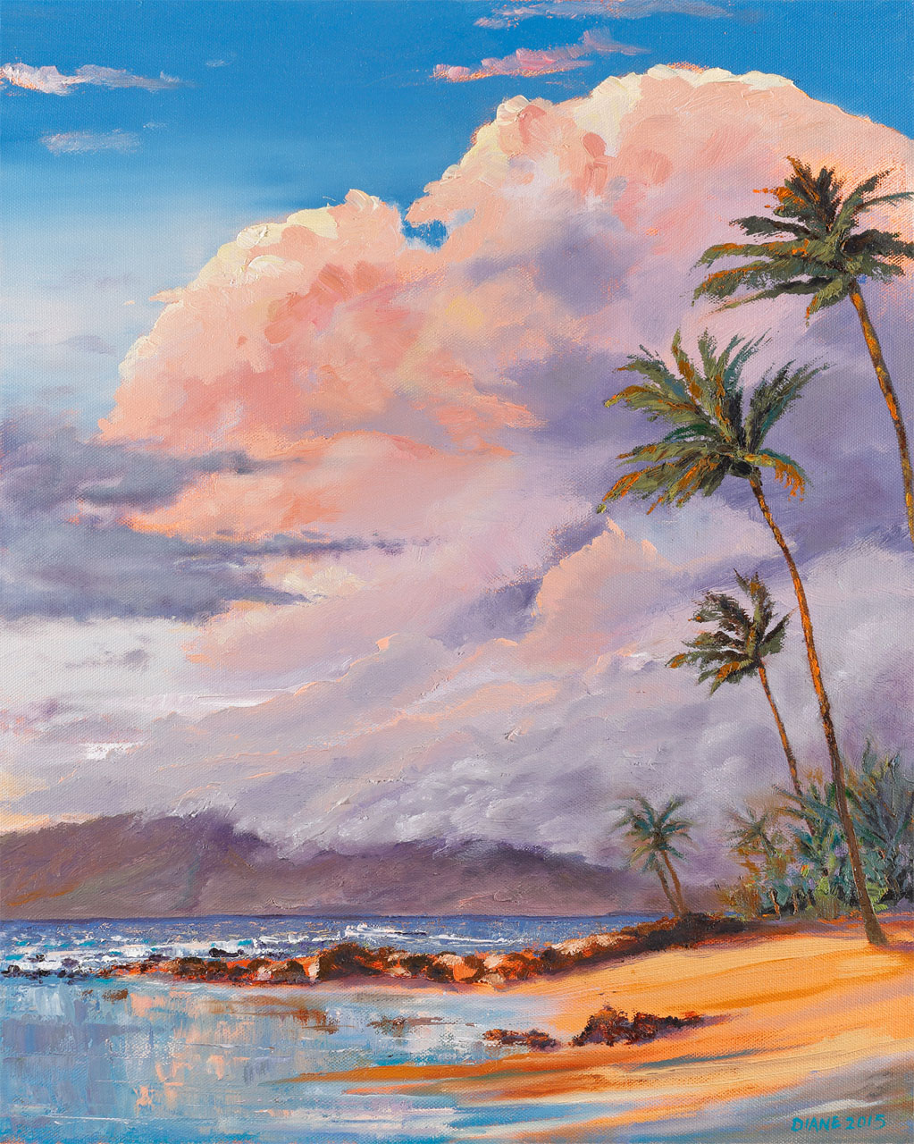 Ulua Beach Sunset 8 x 10 print on watercolor paper Diane Snoey Appler