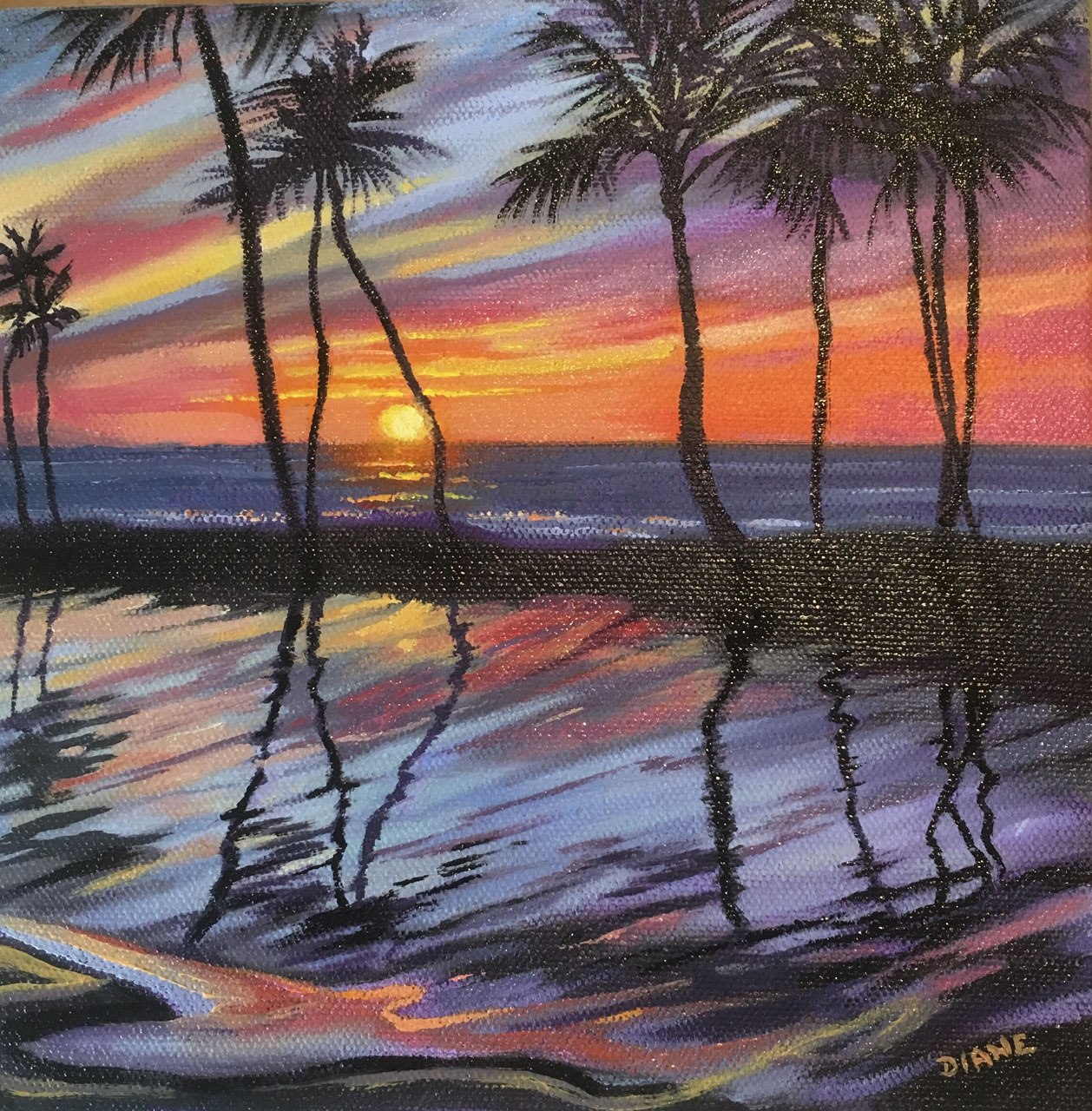 Wailea Sunset Shimmer 8 x 8 Oil on canvas Diane Snoey Appler
