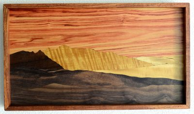 West Maui Mountain Sunset over Molokai by Gary Forrestfrom Haiku marquetry in assorted woods