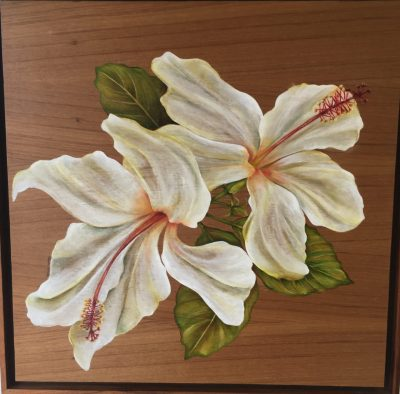 White Hibiscus Oil Painting